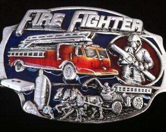 Fire Fighter Fireman Belt Buckle Red Truck Horse Firemen Firefighters Belts & Buckles