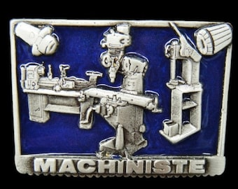 Machiniste Machine Shop Tools Pewter Profession Belt Buckle