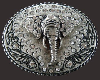 Wild African Elephant Rhinestone Animal Belt Buckle Buckles