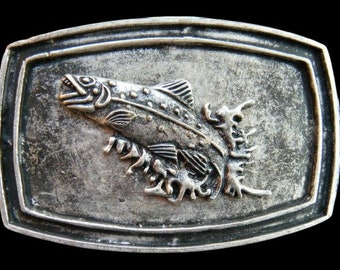 Fish Fishing Sport Trout Bass Lake Fishermen Vintage Unisex Belt Buckles