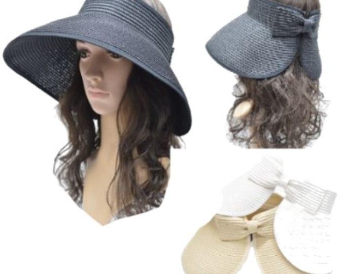 Portable Women's Woven Golf Visor Cap Sun Summer Beach Hat