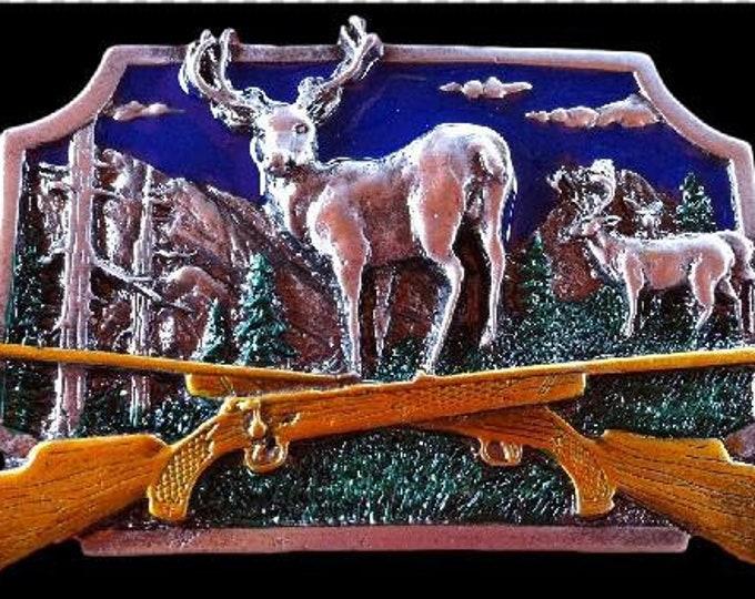 Deer Buck Hunting Antler Animal Rifle Gun Belt Buckle