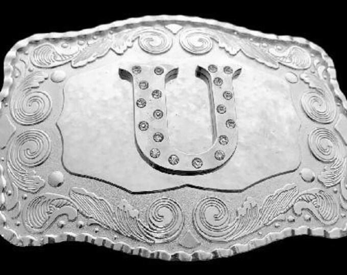Letter U Initial Monogram Name Initials Letters Alphabet Big Belt Buckle Buckles