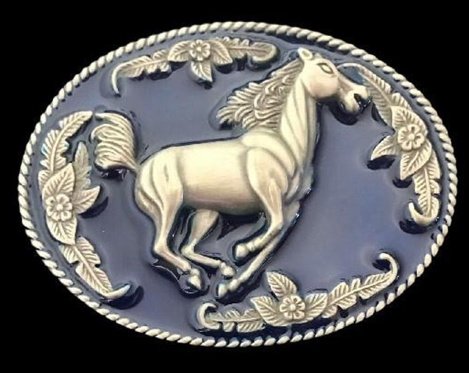 Floral Blue Horse Western Cowboy Cowgirl Ranch Rodeo Girls Belt Buckle
