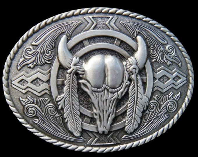 Cool Cow Steer Texas Longhorns Animal Skull Western Belt Buckle Buckles