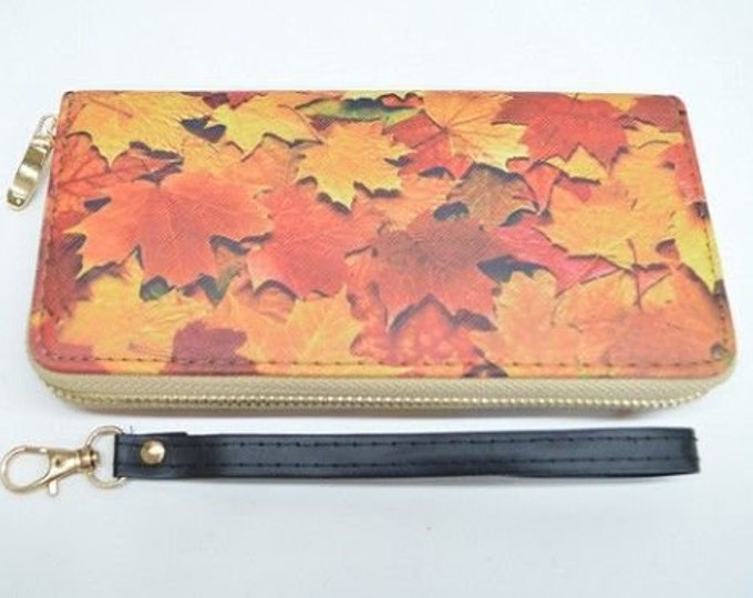 Mapleleaf Leaves Canada Fashion Women's Zipper Clutch Wristlet Wallet
