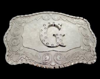 Letter G Initial Monogram Name Initials Letters Alphabet Big Western Belt Buckle Buckles