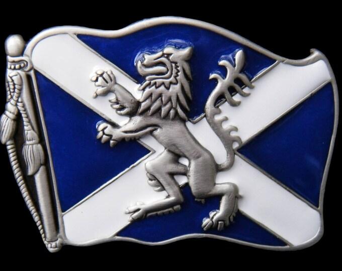 Rampant Lion St. Andrew Cross Scotland Scots Scottish Flag Belt Buckle