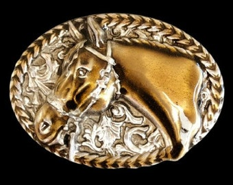 New 3-D Oval Horse Head Western Cowboy Rodeo Belt Buckle
