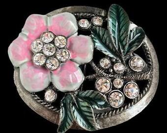 Flower Pink Rhinestones Girls Girly Fashion Belt Buckle Buckles
