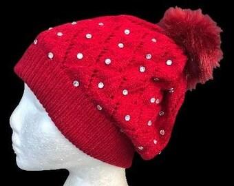 Red Pom Pom With White Rhinestones Winter Fashion Hat