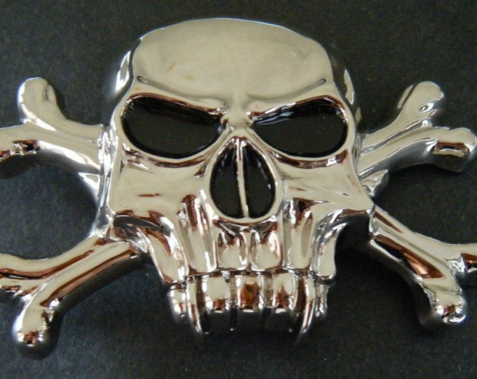 Skull Skeleton Head Gothic Cross Bone Belt Buckle