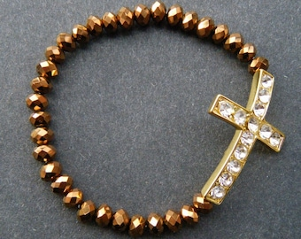 Brown Crystal Beads Rhinestone Religious Cross Stretch Fashion Bracelet