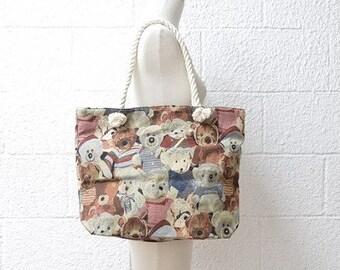 Large Capacity Zipper Handbag Shopping Travel Tote Shoulder Beach Bag Teddy Bears