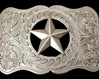 Texas Star Belt Buckle Cowboy Rancher Sheriff's Stars Western Belts & Buckles