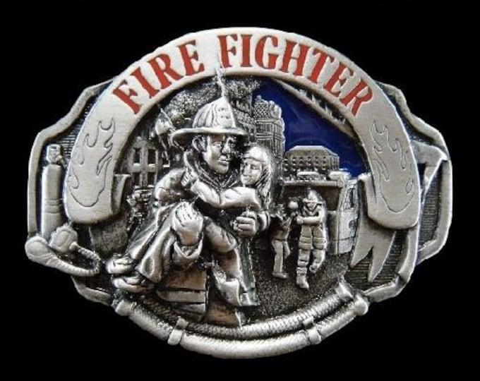 Fire Fighter Fireman Saving Lives Belt Buckle