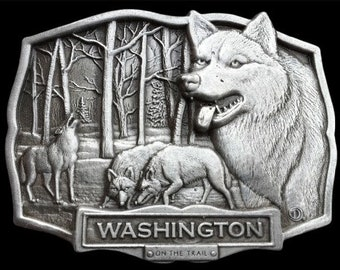 Washington State Lone Wolf  Pack Grey Wild Howling Wolves Belt Buckle Buckles