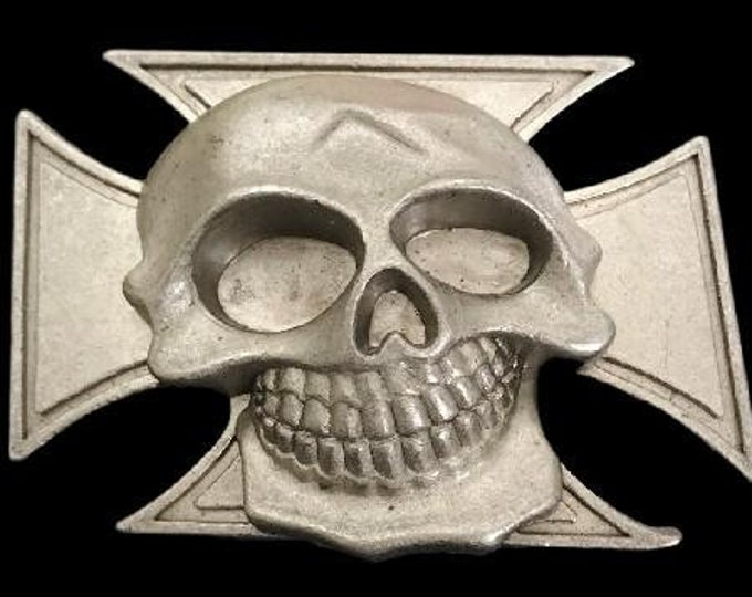 Skull Skeleton Head Gothic Evil Iron Cross Belt Buckle