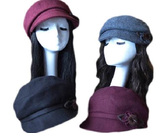 Hat Brim Newsboy Winter Visor Cap