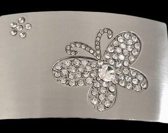 Rhinestone Chrome Simple Butterfly Art Cool Belt Buckle
