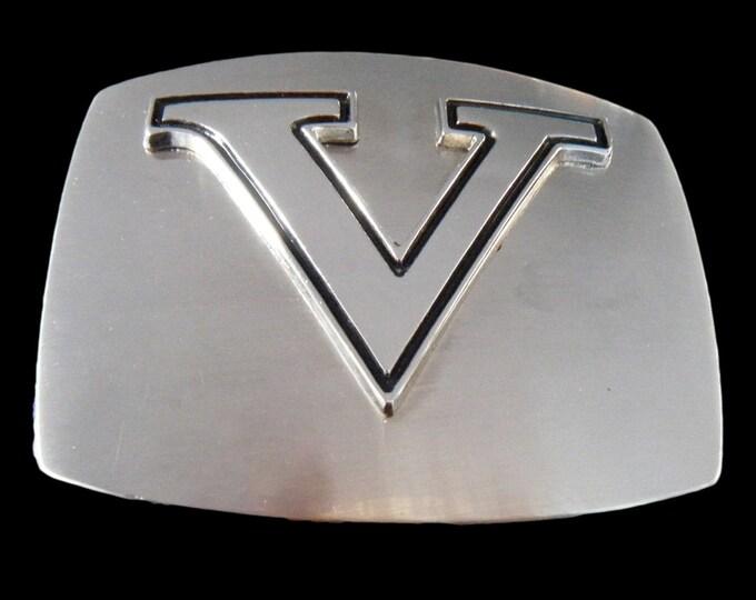 Initial V Letter Name Tag Monogram Chrome Belt Buckle Buckles