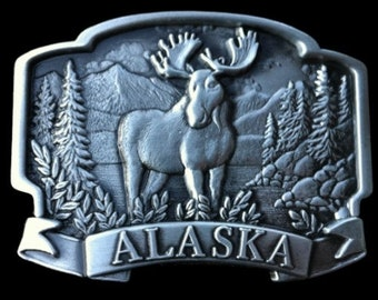 Alaska Moose Antlers Alaskan Wild Animals Hunters Belt Buckle Buckles