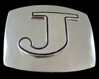 Initial J Letter Name Tag Monogram Chrome Belt Buckle Buckles