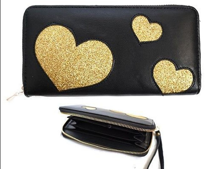 Three Golden Hearts Fashion Women's Zipper Clutch Wallet