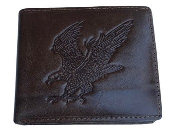 Men's American Eagle Embossed Design Genuine Leather Brown Trifold Wallet