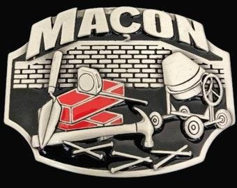 Macon French Mason Work Tools Trade & Profession Belt Buckle