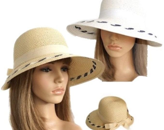 Casual Women's Packable Wide Brim Ribbon Straw Sun Beach Cloche Sun Hat