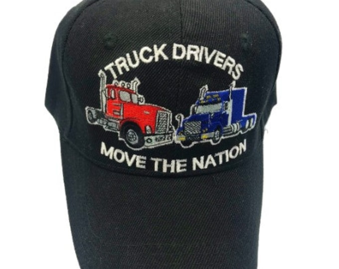 New Truck Drivers Move The Nation Embroidered Baseball Ball Cap Hat Black