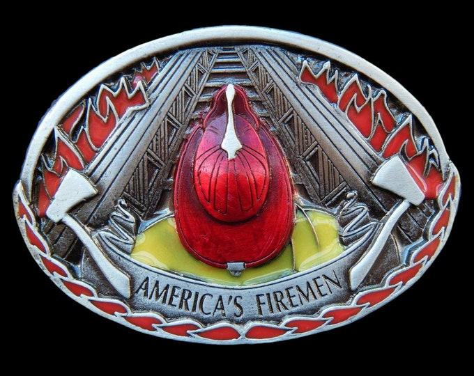 American Firemen Red Hat Truck Firefighter FD Fire Dept Belt Buckle