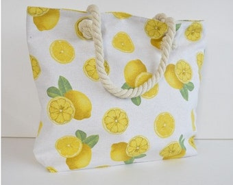 Large Capacity Zipper Handbag Shopping Travel Tote Shoulder Beach Bag Lemons