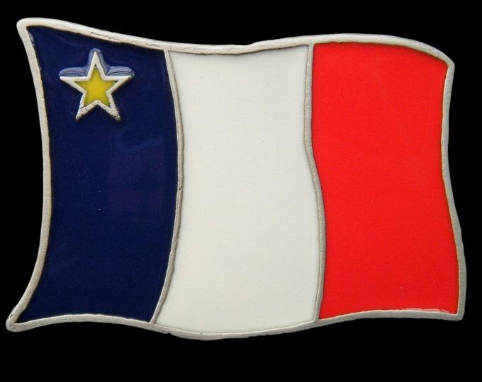 Acadian Flag Acadia Acadien Canada USA Acadians Star Belts Buckle