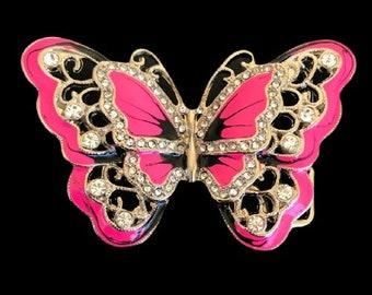 Pink Rhinestone Glitter Butterfly Butterflies Belt Buckles Boucle Ceinture