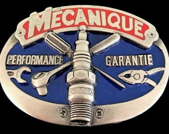 Mecanique French Mechanic Car Motor Pewter Profession Belt Buckle