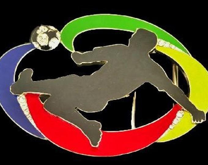 Soccer Player Kicking Ball Football Sports Belt Buckle