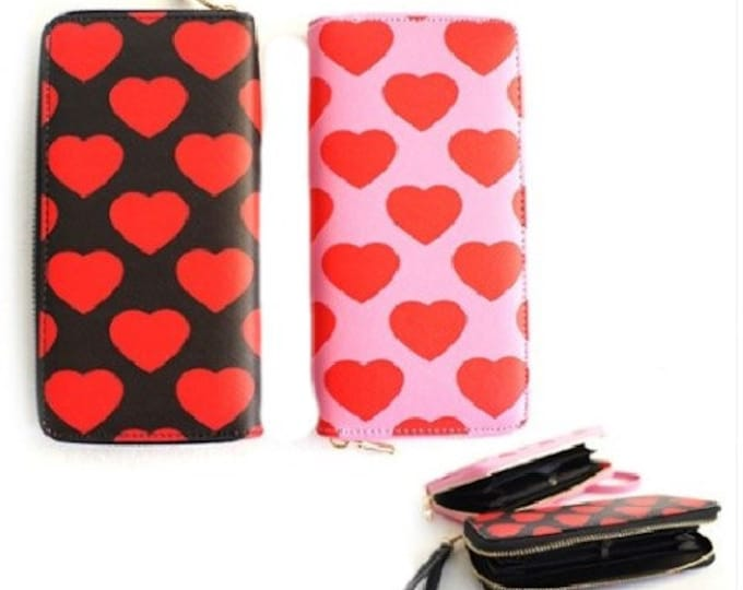 Hearts Love Fashion Women's Zipper Clutch Wristlet Wallet
