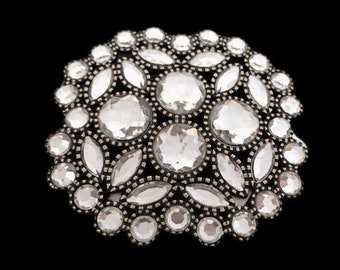 Beautiful White Crystal Rhinestone Dressy Belt Buckle Boucle De Ceinture