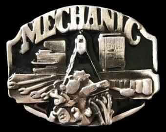 Mechanic Garage Car Engine Motor Tools Profession Belt Buckle