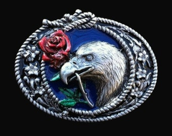 Western Cowboy Eagle With Rose Belt Buckle