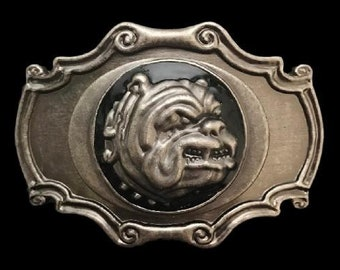 Bulldog Head With Collar Spikes Pet Dog Belt Buckle
