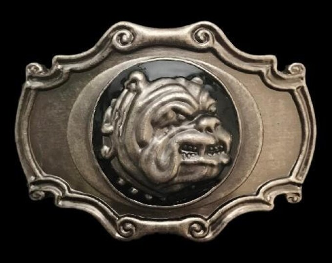 Bulldog Head With Collar Spikes Pet Dog Belt Buckle