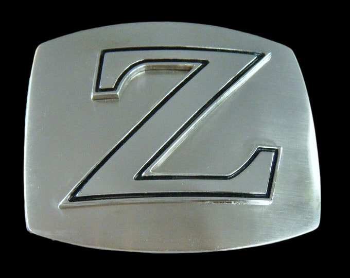 Initial Z Letter Name Tag Monogram Chrome Belt Buckle Buckles