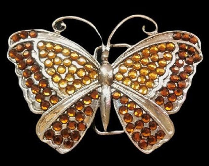 Butterfly Insects Brown Rhinestone Belt Buckle Buckles