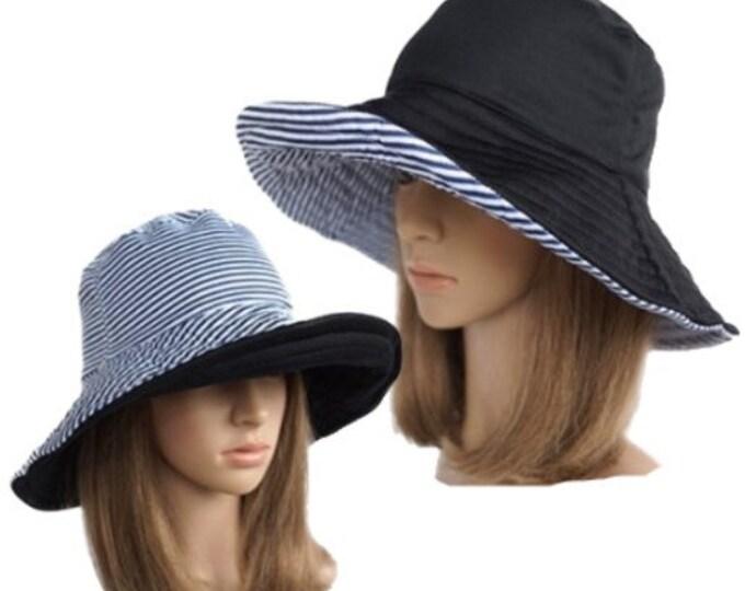 Women Fashion Wide Large Brim Hat Striped Reversible Hat Foldable Sun Bucket Cap