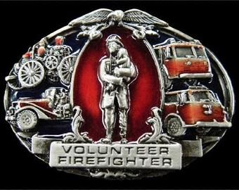 Volunteer Firefighter Fireman Car Truck Belt Buckle