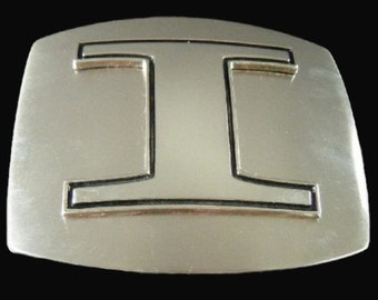 Initial I Letter Name Tag Monogram Chrome Belt Buckle Buckles