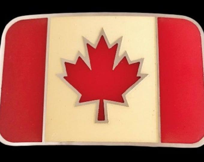 Canada Canadian Red Maple Leaf Flag Hockey Belt Buckle